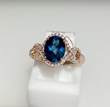 9ct rose gold, topaz and diamond ring