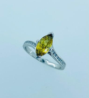 Platinum yellow sapphire ring