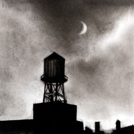 Watertower and Crescent Moon