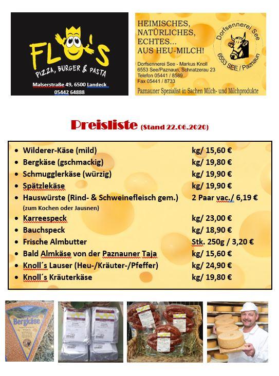 Preisliste Dorfsennerei Produkte