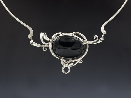 Silver necklace with onyx #2