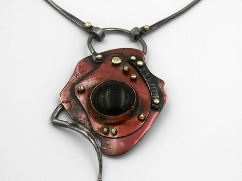 Iron, copper and onyx necklace