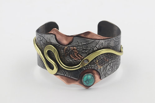 Mixed Metal Bracelet With Turquoise