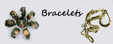 Contemporary iron, bronze and silverbracelets.