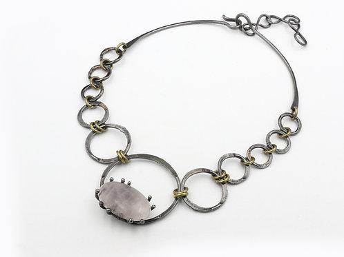 Rose Quartz Iron Necklace