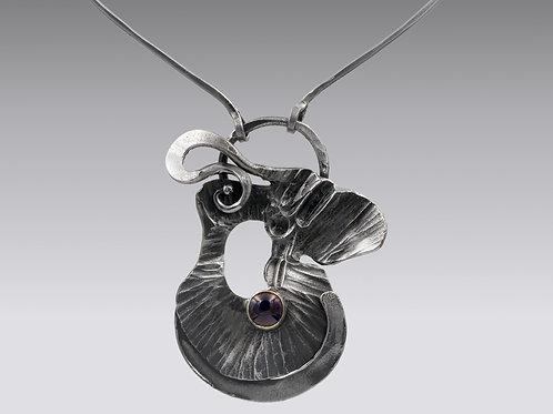 Fine Art Iron Necklace With Garnet
