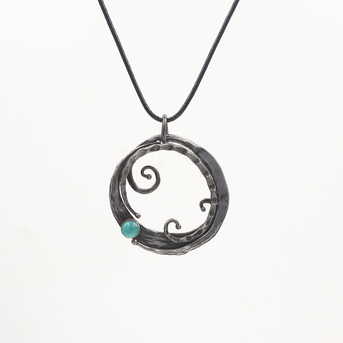 Iron pendant with turquoise