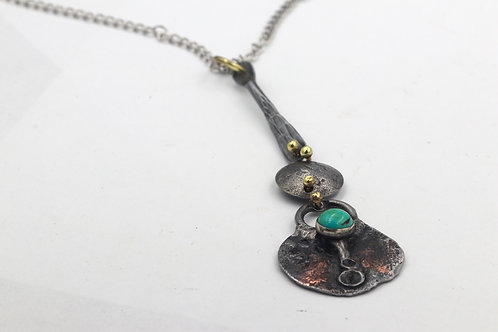 Forged Iron Necklace With Turquoise
