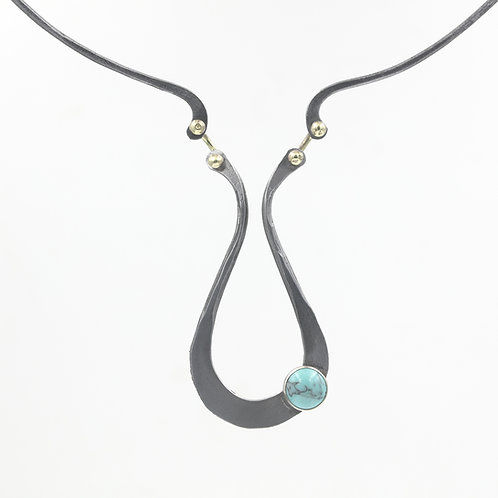 Iron necklace with turquoise