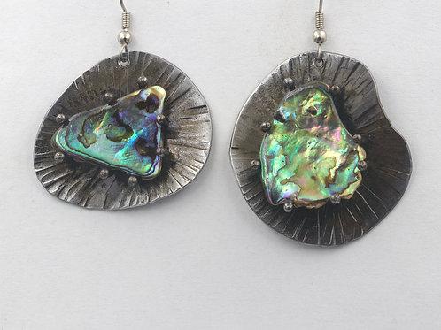 Iron Earrings With Paua Shell