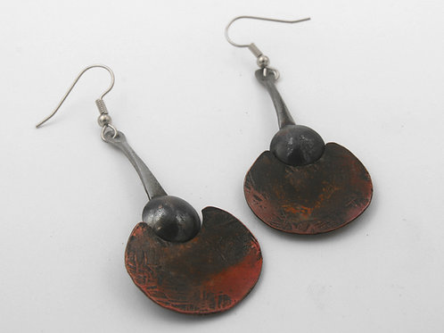 Iron and Copper Art Earrings