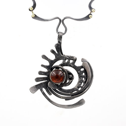 Forged Iron Necklace With Amber