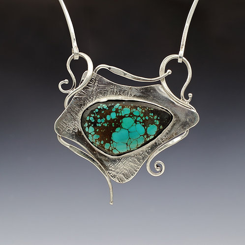 Silver Statement Necklace with turquoise
