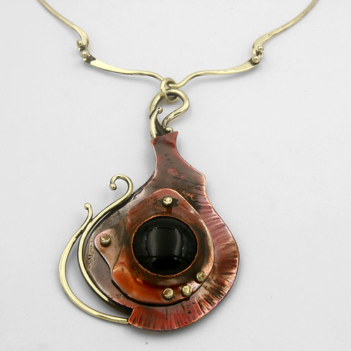 Bronze and Copper Necklace with Onyx
