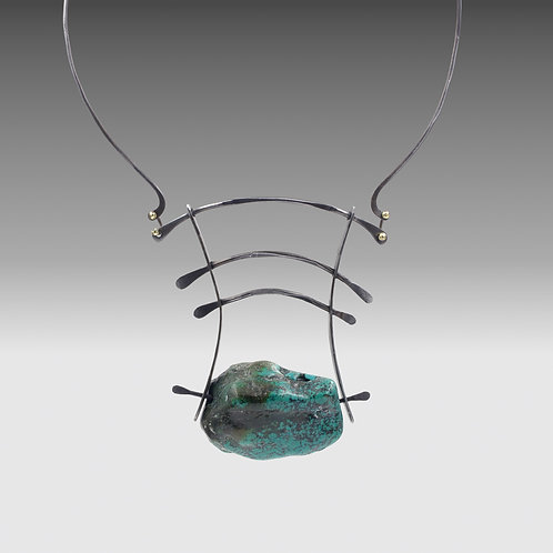 Iron Sculptural Necklace With Turquoise