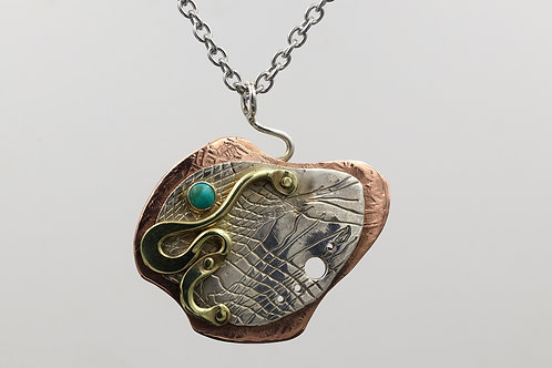 Silver, bronze, copper and turquoise necklace