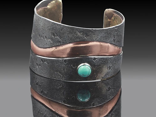 Iron and Copper Bracelet with Turquoise