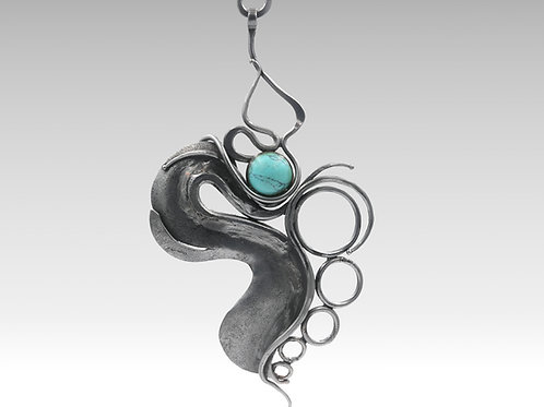 Iron Statement Necklace With Turquoise