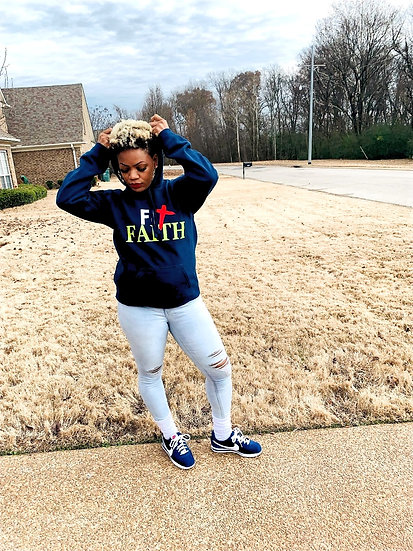 Navy This Way Fit Faith  Hoodie