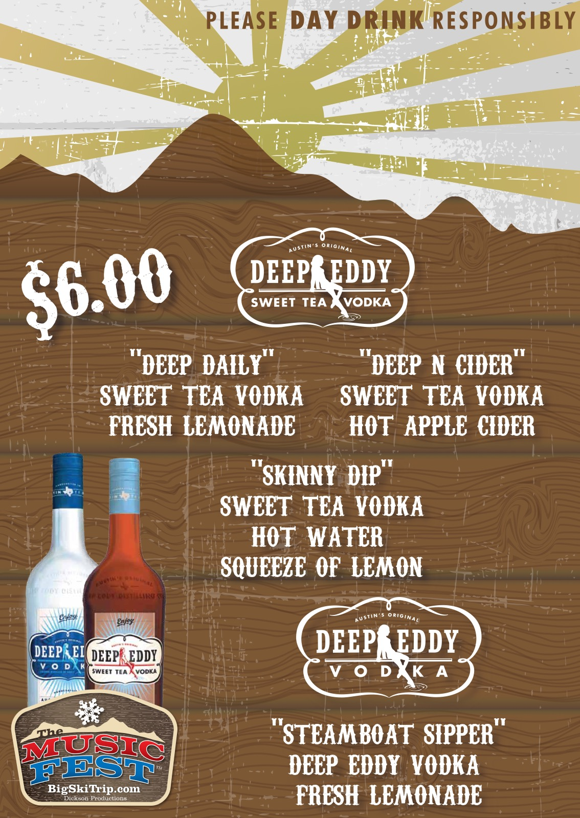 Music Fest Deep Eddy Vodka Menu 2014