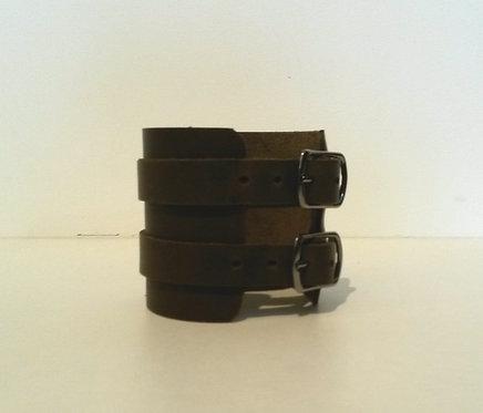 Bracelet kaki foncé double à boucles