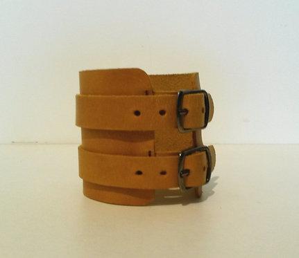 Bracelet jaune double à boucles