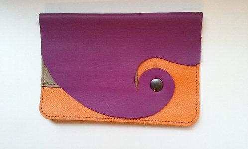 pochette tabac violet-orange avec étui feuilles