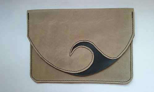 pochette tabac gris avec étui feuilles