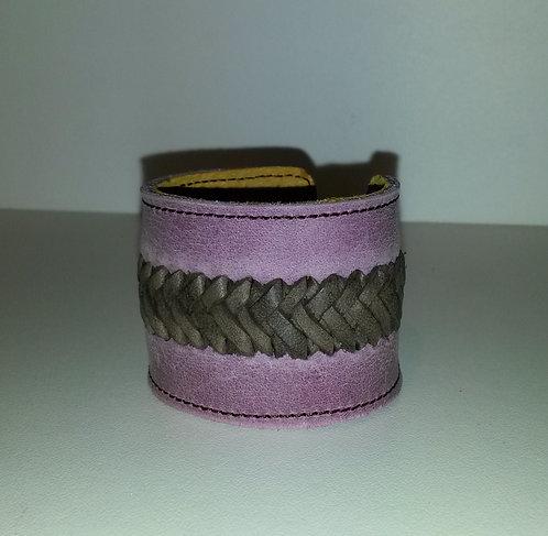 Bracelet violet clair à tresse marron foncée