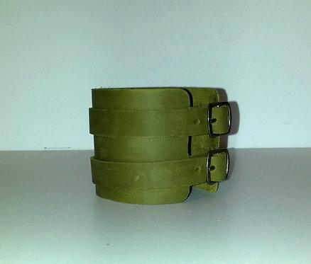 Bracelet kaki double à boucles