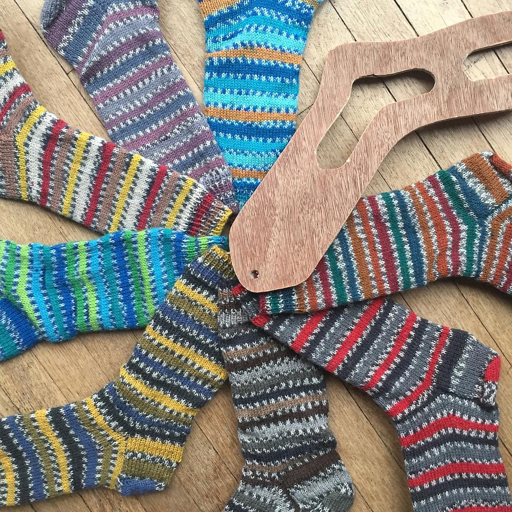 Selection of hand knit socks