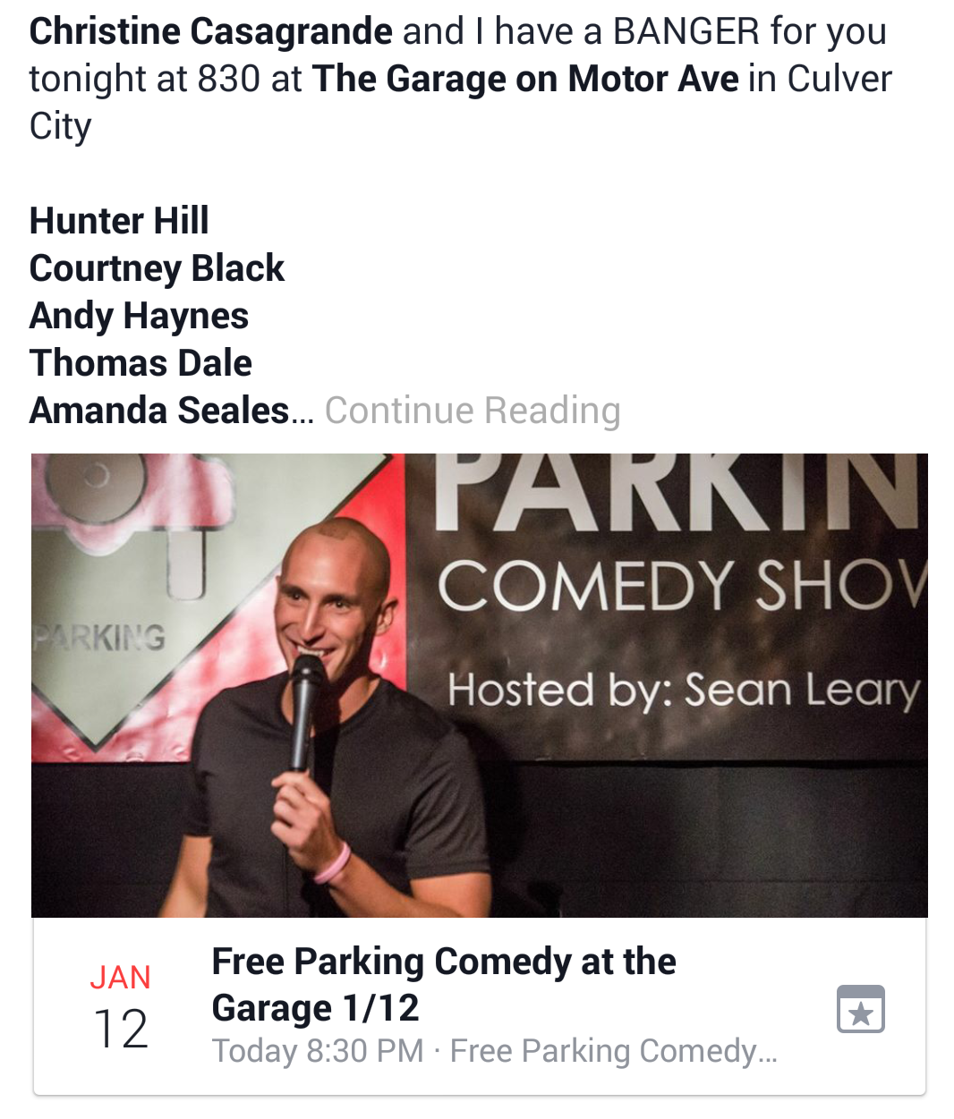 #FreeParkingComedy Show, 1/12/17