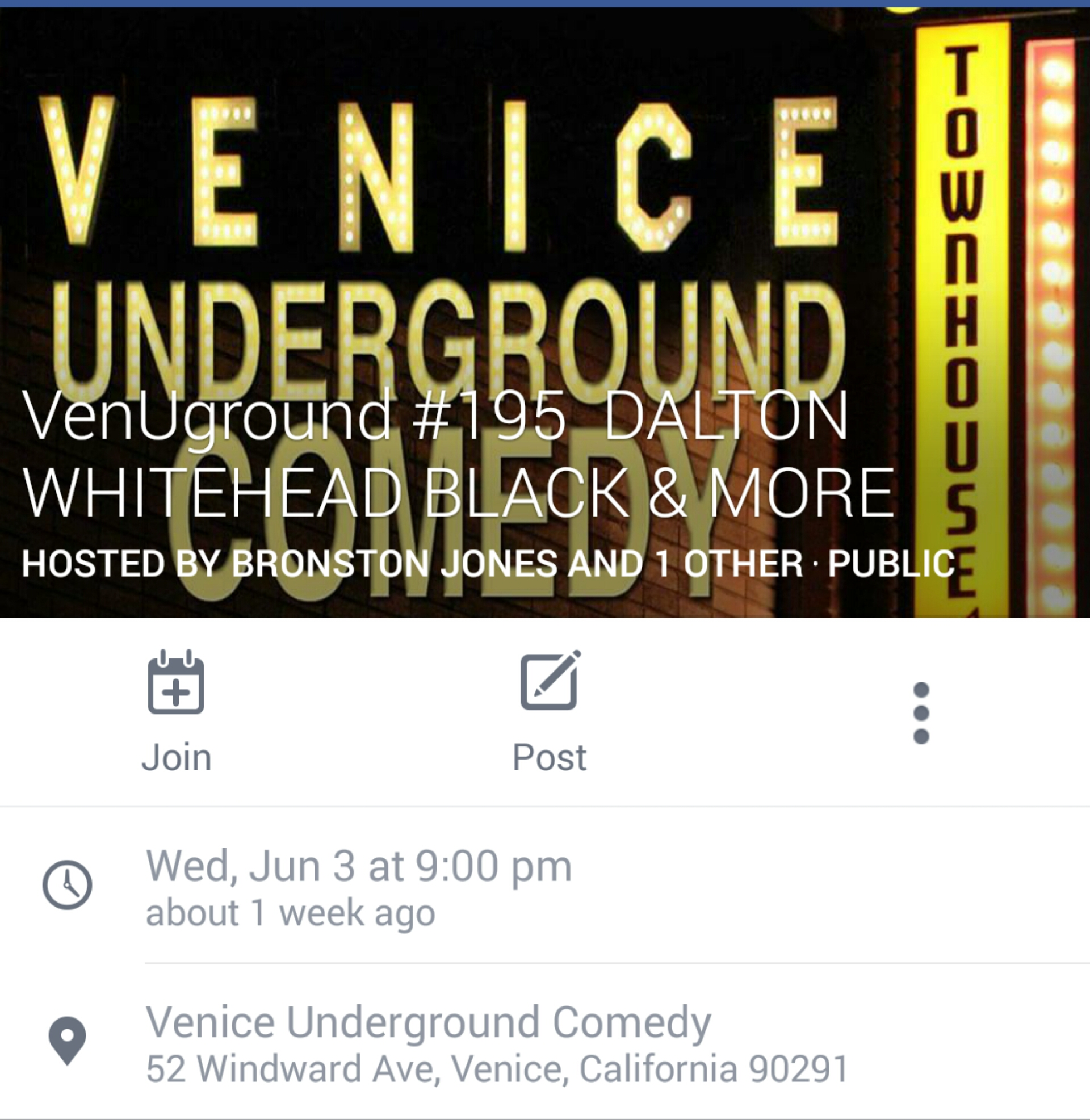I'm performing in Venice, CA