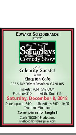 Pasadena December 8th, 8pm