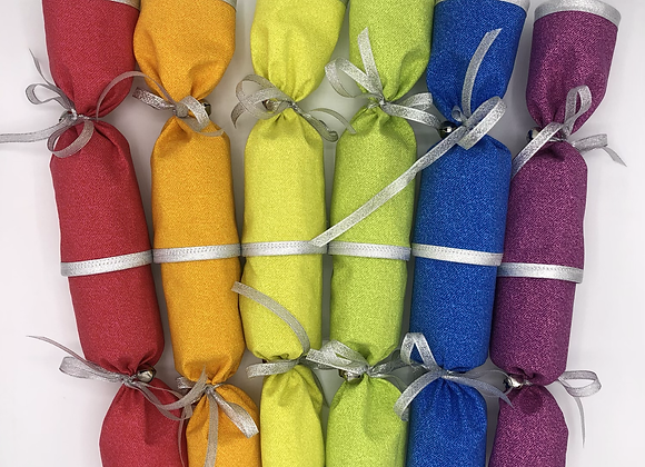 Rainbow Fabric Party Crackers - Pullable, Reusable, Refillable - Set of 6
