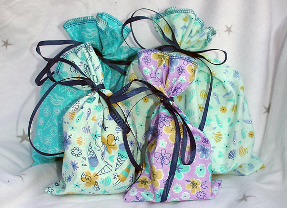 Reusable fabric gift bags - set of 4 (XS and S)
