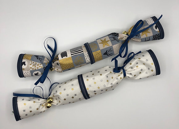 Christmas Crackers set of 2 - Patchwork Blue