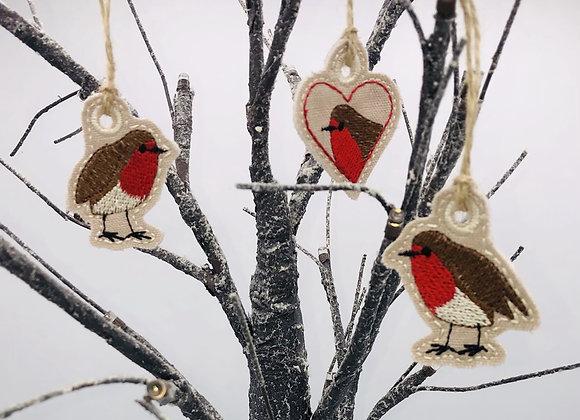 Robins Christmas tree decorations - set of 3