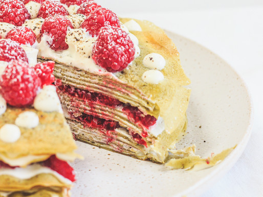 Peppered Raspberry + Matcha Crepe Cake