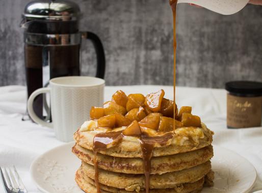 Ricotta Hotcakes + Tea Caramel Apples