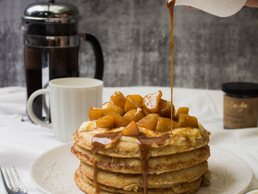 Ricotta Hotcakes + Tea Caramel Apples