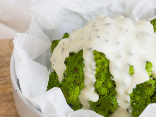 Whole Baked Romanesco + Herby Cheese Sauce