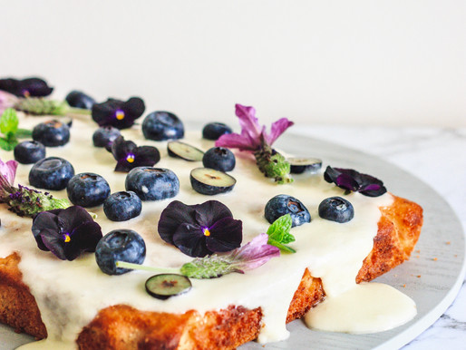 Banana + Blueberry Sheet Cake