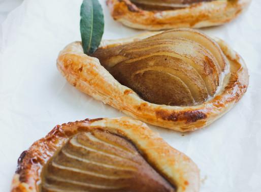 Tea Poached Pear + Caramel Tart