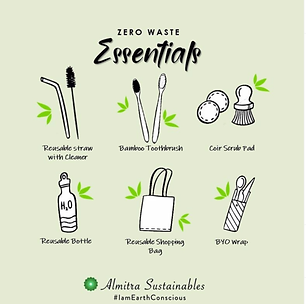 A zero waste essentials informational with various idems on it for Almitra sustainables