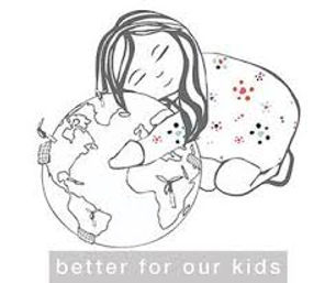 """An image from the Art and Eden website of a little girl hugging an image of the world with the text """"better for our kids""""."""