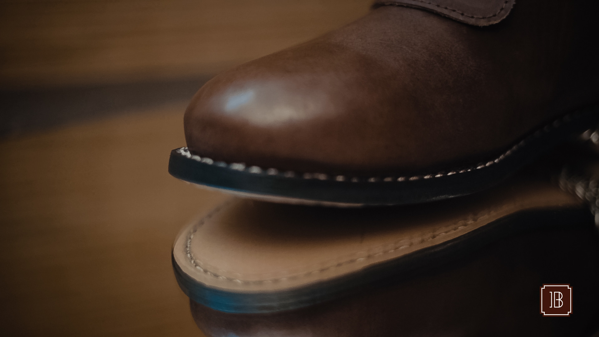 Goodyear welt stitcing on boots.