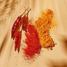 A picture of spices and peppers.