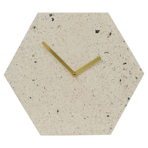 TERRAZZO HEXAGONAL CLOCK