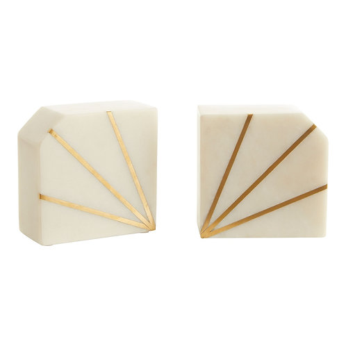 WHITE MARBLE & GOLD STRIPE BOOK ENDS